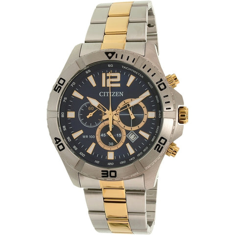 Citizen Men's Silver Stainless-Steel Quartz Chronograph  Two Tone Watch AN8124-56L