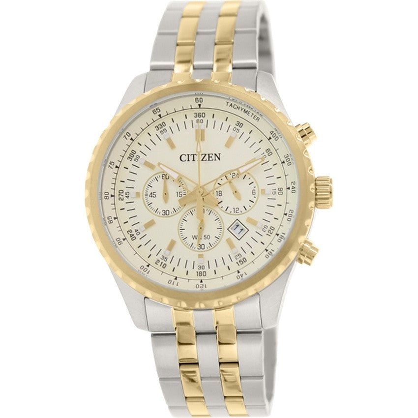 Citizen Quartz Men's Silver/Gold Stainless Steel Strap Watch AN8064-56P