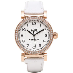 Coach 14502401 Ladies Madison Fashion Leather Strap Watch (White)
