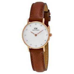 Daniel Wellington Ladies' Classy St Mawes White Diamond Dial Brown Leather Ladies 26mm Watch 0900DW DW00100059