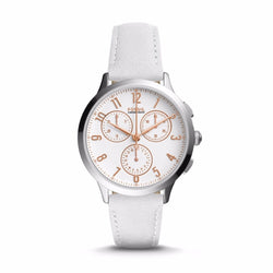 Fossil ABILENE CHRONOGRAPH WHITE LEATHER WATCH