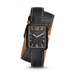 FOSSIL ATWATER THREE-HAND BLACK LEATHER WRAP WATCH ES4193