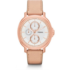 FOSSIL Chelsey Multi-Function Silver Crystal-set Dial Beige Leather Ladies Watch ES3358