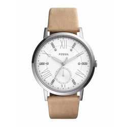 FOSSIL Gazer White Dial Ladies Tan Leather Watch ES4162