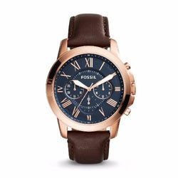 Fossil Grant Chronograph Blue Dial Brown Leather Men's Quartz Watch FS5068