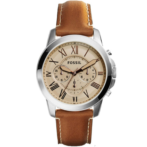 Fossil Grant Chronograph Light Brown Leather Watch FS5118