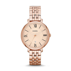 Fossil Ladies' Jacqueline Rose Gold-Tone Stainless Steel Watch ES3435