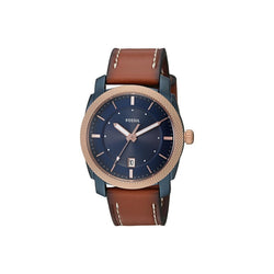 FOSSIL Machine Navy Blue Dial Men's Luggage Leather Watch FS5266