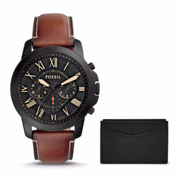 FOSSIL MENS  GRANT CHRONOGRAPH LIGHT BROWN LEATHER WATCH AND CARD CASE BOX SET FS5335SET