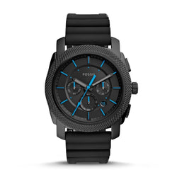 FOSSIL MENS MACHINE CHRONOGRAPH BLACK SILICONE WATCH