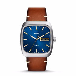 FOSSIL MENS RUTHERFORD THREE-HAND DAY-DATE LIGHT BROWN LEATHER WATCH