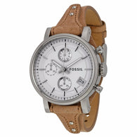 FOSSIL Original Boyfriend Chronograph White Dial Cot Bone Leather Ladies Watch ES3625