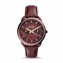 FOSSIL TAILOR MULTIFUNCTION WINE LEATHER WATCH ES4121