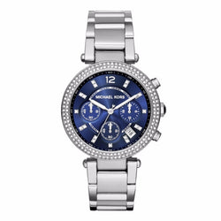 MICHAEL KORS Parker Chronograph Navy Dial Stainless Steel Ladies Watch MK6117