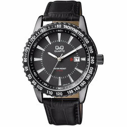 Q&Q by Citizen A450J502Y Black Dial & Leather Strap Date Men's