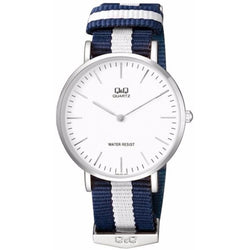 Q&Q By Citizen White Dial Blue White Nylon Analog Classic Watch Q974J331Y