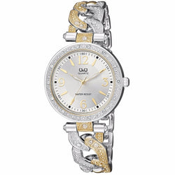 Q&Q F539-404Y by Citizen Gold Silver Stainless Steel Analog Ladies