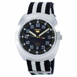 Seiko 5 Sports Limited Edition Automatic Japan Made Men's Black & White Nylon Strap Watch SRPA93J1