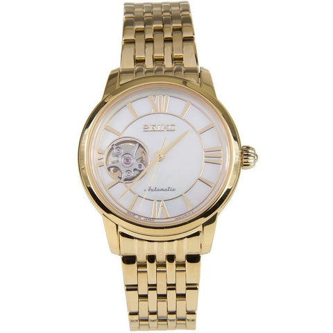 Seiko Gold Stainless Semi Skeleton Automatic Watch Ssa850j1