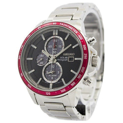 Seiko Solar Chronograph Alarm Men's Silver Tone Stainless Steel Strap Watch Ssc433p1