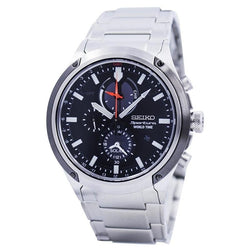 Seiko Sportura Solar World Time Chronograph Men's Silver Tone Stainless Steel Strap Watch Ssc479p1