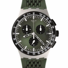 Swatch Men's Chronograph Green Silicone Strap Watch SUSM402