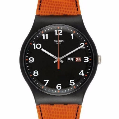 Swatch Men's Faux Fox Orange Leather Strap Watch SUOB709
