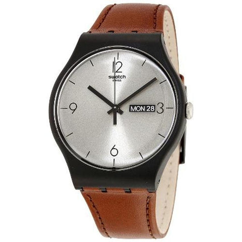 Swatch Men's Lonely Desert Leather Strap Watches SUOB721