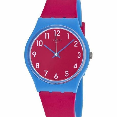 Swatch Unisex Lampone Purple Silicone Strap Watch