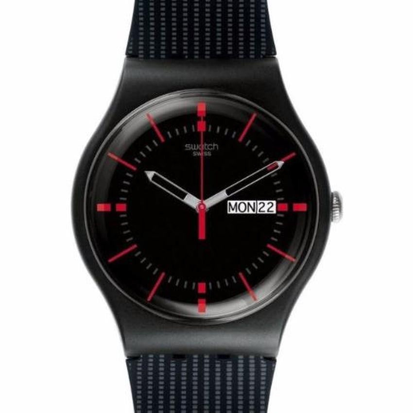 Swatch Unisex New Gent Gaet Black Silicone Strap Watch SUOB714