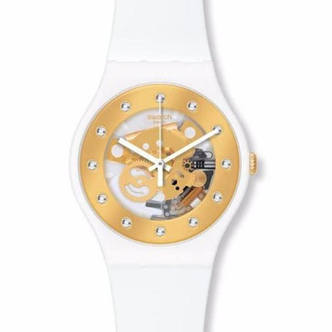 Swatch Unisex Sunray Glam White Silicone Strap Watch SUOZ148