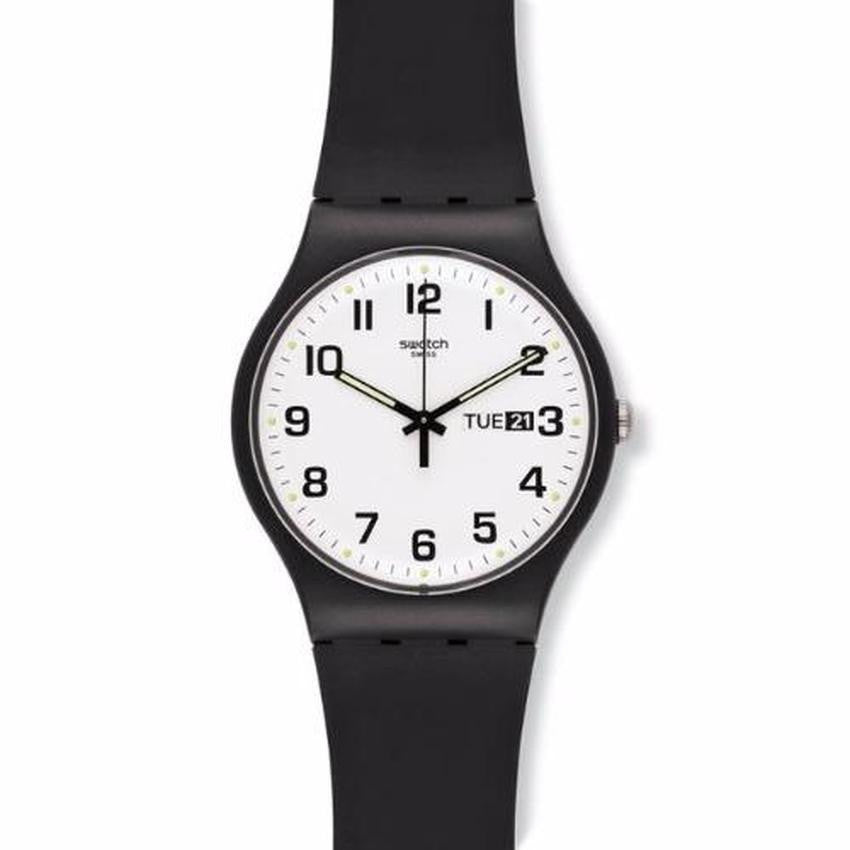 Swatch Unisex Twice Again Black Silicone Strap Watch