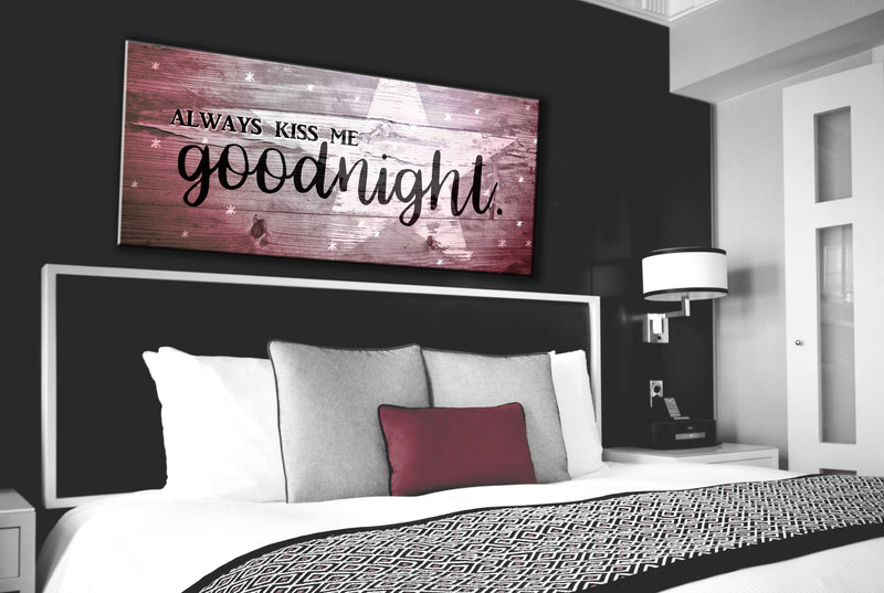Bedroom Wall Art: Kiss Me Goodnight V3 Wall Art 2 Sizes Available (Wood Frame Ready To Hang)