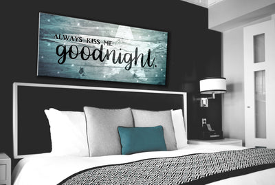 Couples Wall Art: Kiss Me Goodnight V3 Wall Art 2 Sizes Available (Wood Frame Ready To Hang)