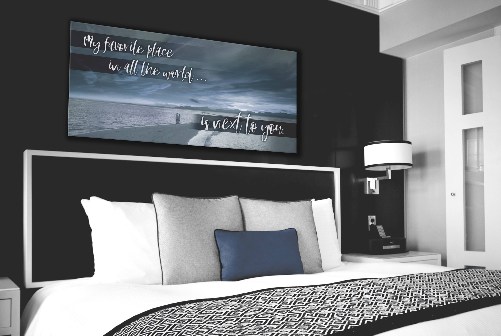 Bedroom Wall Art: Beach Next To You Wall Art V2 (Wood Frame Ready To Hang)