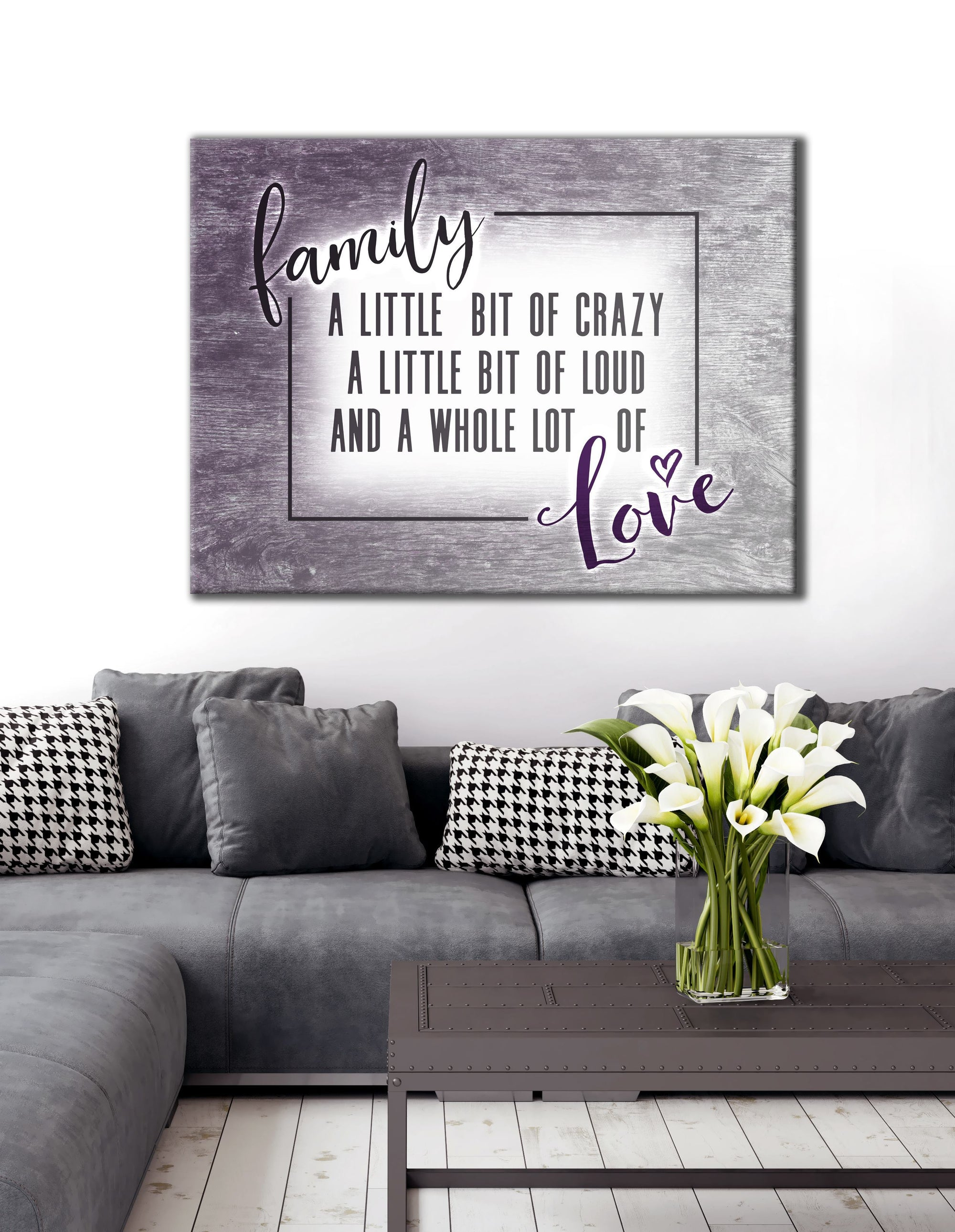 Family Wall Art: Funny Crazy Family Saying (Wood Frame Ready To Hang)