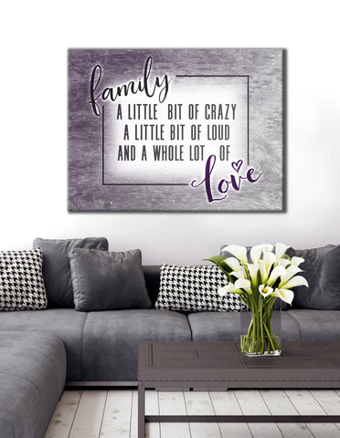 Bedroom Decor Wall Art: Funny Crazy Family Saying (Wood Frame Ready To Hang)