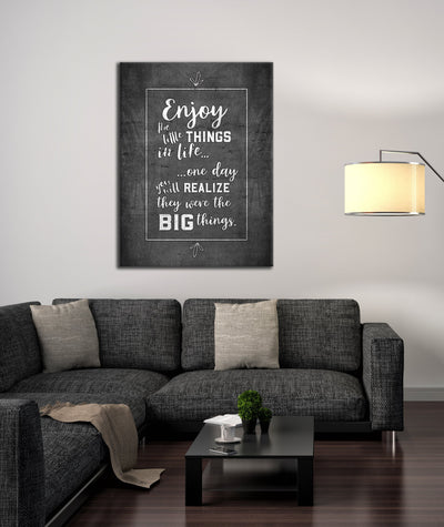 Living Room Decor Wall Art:  Enjoy The Small Things (Wood Frame Ready To Hang)