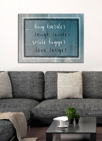 Living Room Decor Wall Art:  Hug, Smile Saying (Wood Frame Ready To Hang)