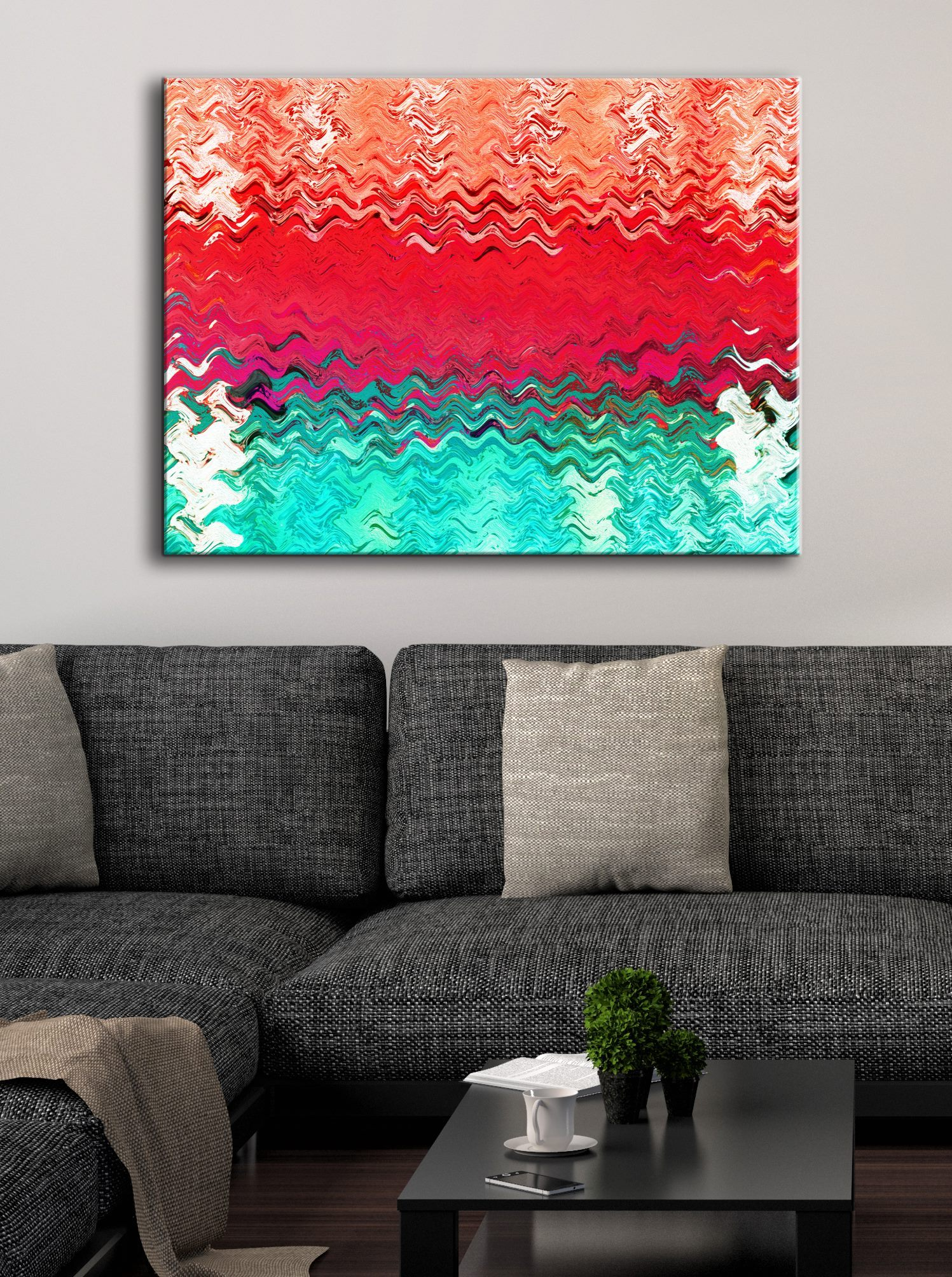 Abstract Wall Art: Rad Wave (Wood Frame Ready To Hang)