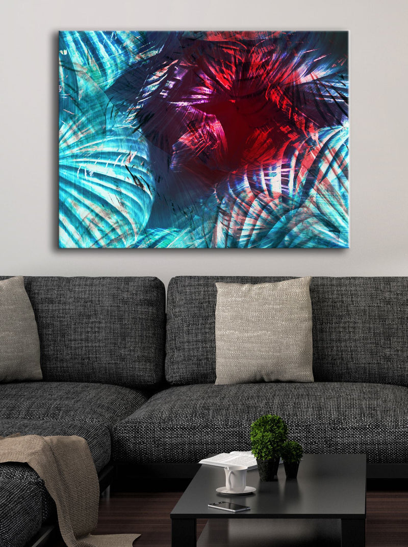 Abstract Wall Art: Colourful Palm (Wood Frame Ready To Hang)