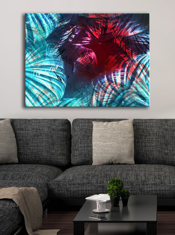 Abstract Home Decor Wall Art: Colourful Palm (Wood Frame Ready To Hang)