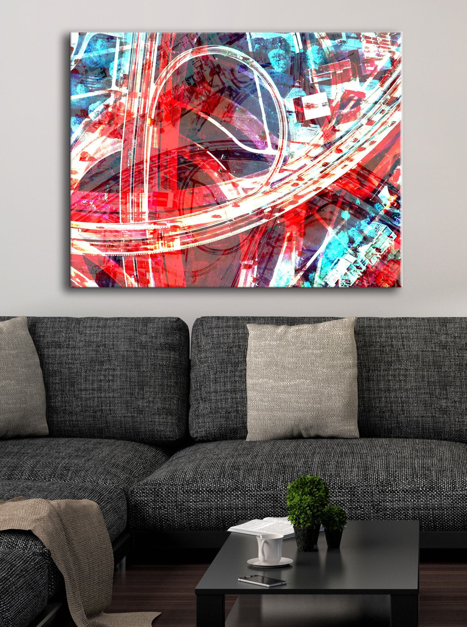 Abstract Wall Art: Red Swirls (Wood Frame Ready To Hang)
