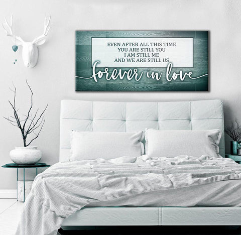 Home Wall Art: Forever In Love Teal (Wood Frame Ready To Hang)