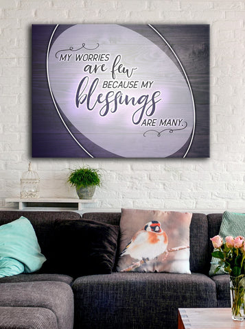 Home Decor Wall Art: Few Worries (Wood Frame Ready To Hang)