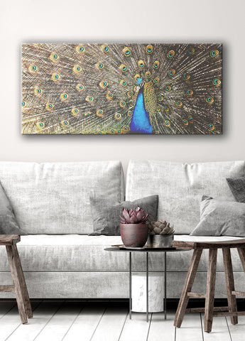Bird Wall Art: Peacock (Wood Frame Ready To Hang)