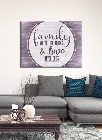 Family Home  Decor Wall Art:  Family Where Life Begins V6 (Wood Frame Ready To Hang)