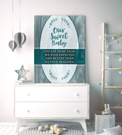Baby Room Wall Art: Our Sweet Baby (Wood Frame Ready To Hang)