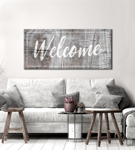 Home Decor Wall Art: Welcome (Wood Frame Ready To Hang)