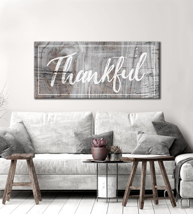 Home Wall Art: Thankful (Wood Frame Ready To Hang)